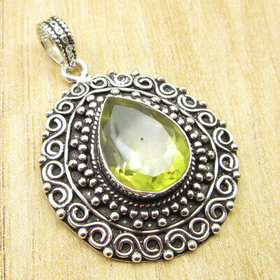 "925 Silver Plated High End Lemon Quartz ELEGANT Pendant 1.7"" Free Shipping NEW"