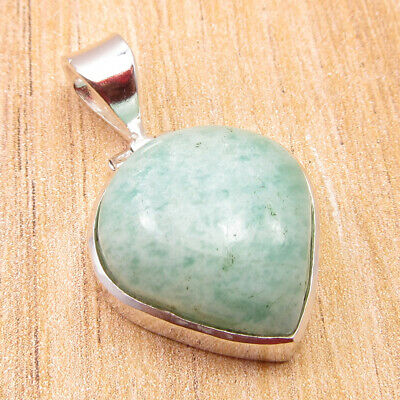 "925 Silver Overlay High End Amazonite ROYAL DROP SHAPE Pendant 1.2"" ONLINE STORE"