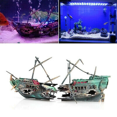 New~Aquarium Ornament Wreck Sailing Boat Sunk Ship Destroyer Fish Tank Decor Kit