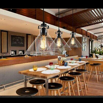 3PK Kitchen Pendant Light Ceiling Lamp Vintage Industrial Glass Shade Fitting