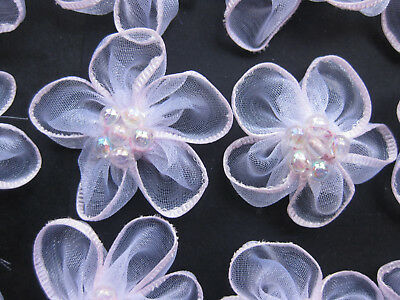 Organza Ribbon Pale Pink Flowers Iridescent Bead Centre  approx 35mm Set of 50