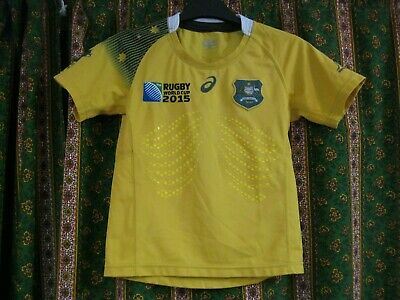 Ancien MAILLOT ASICS AUSTRALIA IRB RUGBY WORLD CUP 2015 Jersey Shirt T9-10ans