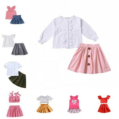 2pcs Baby Girls Summer Outfit Dress Hot Top + Skirt Age 1-5 Yrs Holiday Clothes