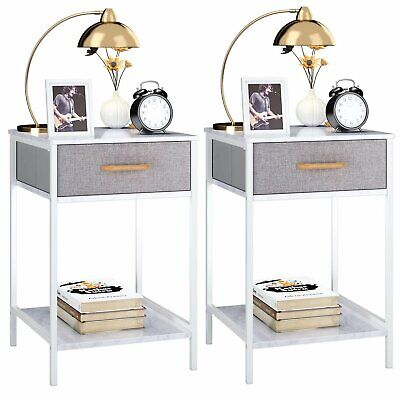 Bedside Tables Grey Fabric Drawer Cabinet Nightstand Storage Shelf Unit Bedroom
