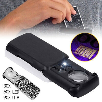 30X 60X 90X UV LED Lighted Magnifier Coin Jewelers Loupe Loop Magnifying Glass