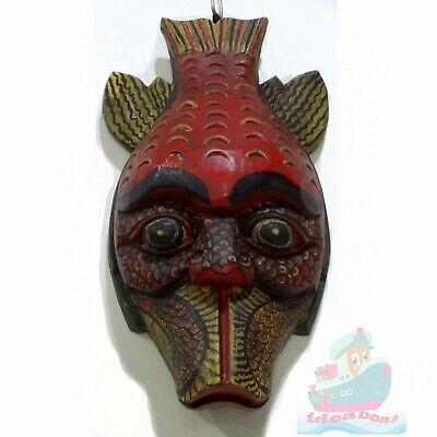 China Wood Hand Carved Painted NUO MASK Walldecor-The God of Fish Tall32 X18.5cm