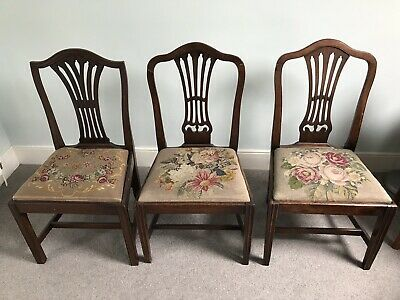 Antique / 18th Century CHAIRS (3 THREE) Hepplewhite design, floral pattern seats