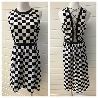 a6238d140df76 Wayne By Wayne Cooper Black & White Check Sleeveless Dress With Lace Up  Back 12