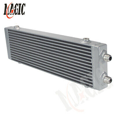 """Universal Dual Pass Bar & Plate Oil Cooler 18.5""""x5.5""""x1.58"""" Core Large -Silver"""