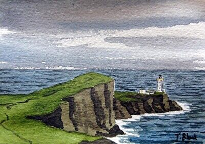 ORIGINAL AQUARELL - Leuchtturm Neist Point, Schottland