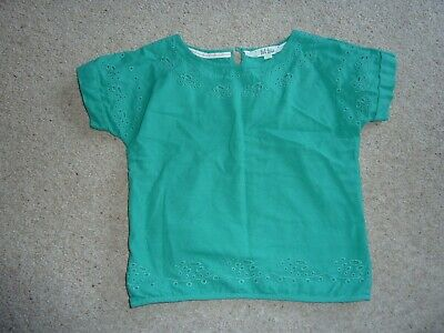 Beautiful Girls Cotton Fat Face Green Broderie Anglaise Top Age 6-7