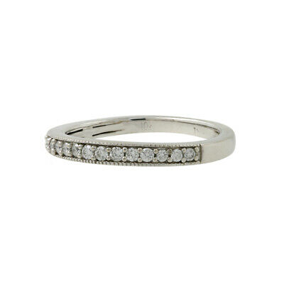 Ladies Vintage Estate 10K White Gold Diamond Milgrain Wedding Band Ring