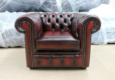 Chesterfield Low Back Tufted Buttoned 1 Seater Club Chair Vintage Oxblood Red