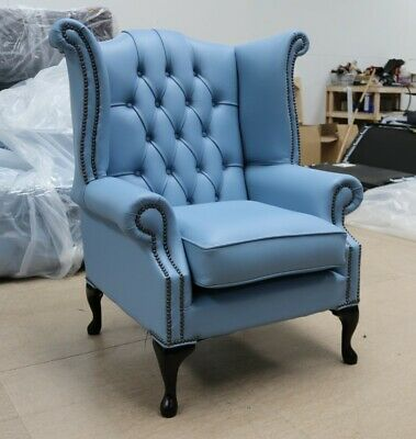 Georgian Chesterfield Queen Anne High Back Wing Chair Haze Blue Leather