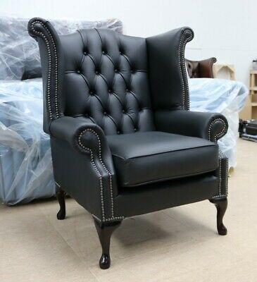 Georgian Chesterfield Queen Anne High Back Wing Chair Black Leather