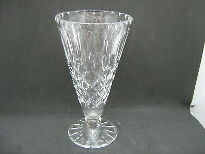 "Heavy quality glass crystal vase 8"" tall"