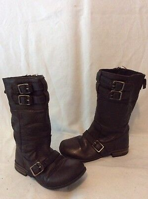Girls Zara Brown Leather Boots Size 27
