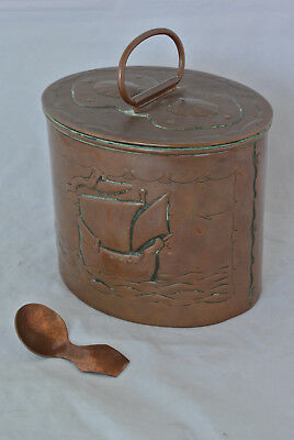Newlyn Copper Oval Biscuit Box and Cover