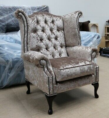 Georgian Chesterfield Queen Anne High Back Wing Chair Mink Velvet