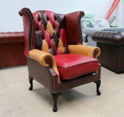 Georgian Chesterfield Queen Anne High Back Wing Chair Patchwork Leather