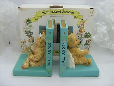 Pair Minster Giftware heavy ceramic Teddy Bear Bookends boxed childrens shelf