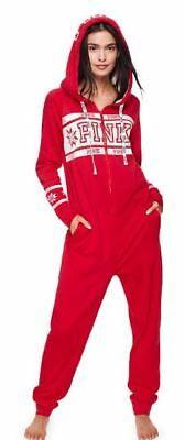 Victorias Secret PINK One piece pajama XS S M L Hooded Sherpa Red Valentine