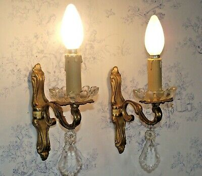 Beautiful Pair Vintage French Bronze Single Crystal and Glass Wall Sconces 1234