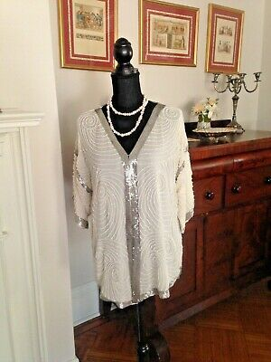 Vintage  Swee Lo by Saks Fifth Ave White Silk Pearl Sequin Jacket Evening Top M