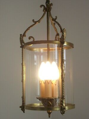 Stunning French Antique Large Round Glass & Brass 3 Candle Hall Lantern 1117