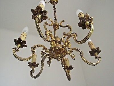 Superb French Antique Bronze Baroque Detailed 6 Scrolled Arm Cage Chandelier 667