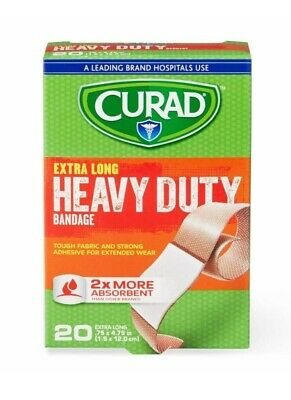 Curad Extra Long Heavy Duty Fabric Bandage 20-Count Tough Fabric Strong Adhesive