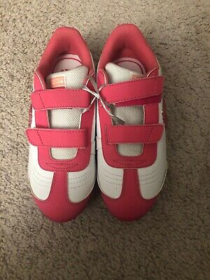 Big Girls White & Pink PUMA Sport Sneakers Shoes Sz 2Y
