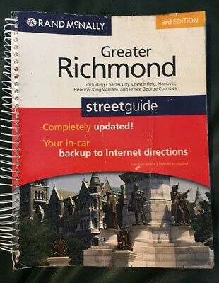 Rand McNally GREATER RICHMOND  Streetguide ~Acceptable Cover~ Spiral-bound Book