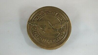 Vintage Pratt & Whitney Aircraft Eagle Brass Belt Buckle Dependable Engines