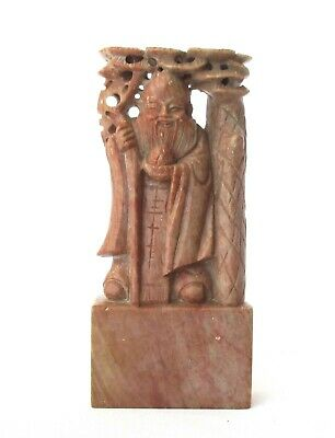 Hand Carved Pink Marble Figurative Stamp Seal - Statue of an Old Chinese Sage