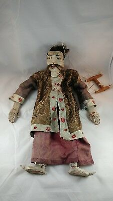 """Vintage Antique 23"""" Asian Marionette Hand Carved Painted Puppet Doll Theatre"""