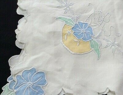 "vintage Madeira tea tablecloth 33"" sq w pastel appliqués, embroidery+cutwork"