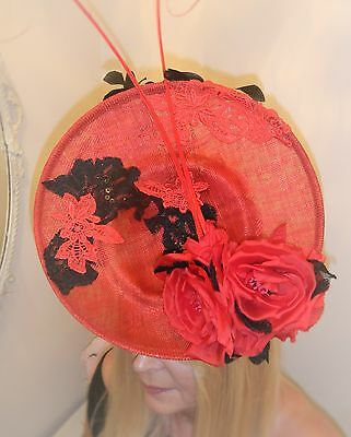 Red and Black Ladies Race Day/Wedding/Mother of the Bride sophisticated hat