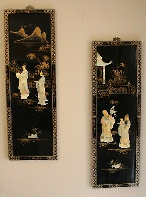 Pair of Chinese Export Black Laquer Mother of Pearl Figural Tea Service Panels