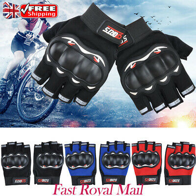 Mens Hard Knuckle Cycling Gloves Half Finger Outdoor Bike Bicycle Fingerless UK
