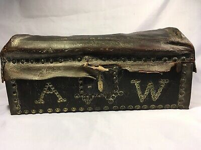 Antique 1800s Leather Document Box Brass Initials Trunk Chest Coffer Brass Studs