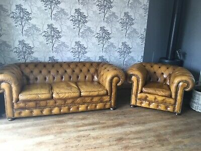 Chesterfield three seater sofa and club chair