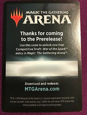 MTG Magic Arena War of the Spark Competitive Draft Code e-mailed