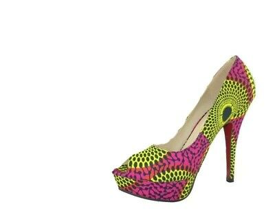 BRAND NEW AFRICAN PRINT CIRCLE PRINT SHOES Size 38