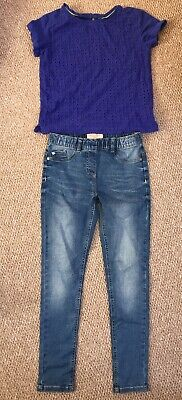 Girls Next Outfit - Blue Jeans Jeggings & T-shirt Top  Royal Blue Age 9 Years