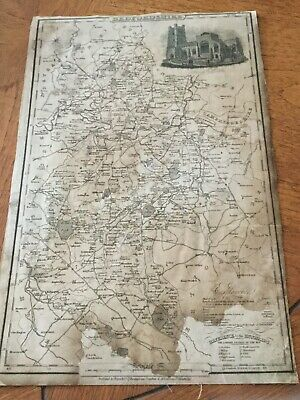 Genuine Original County Map Pigot &co. 1823-8 - Bedfordshire-Rare