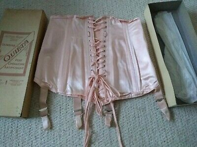 French original Art Deco boxed silk Corset vintage  used but appears unworn