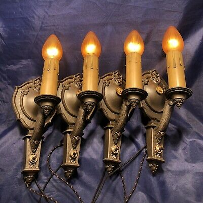 "Set of four antique signed ""RIDDLE CO."" Wall sconces with Dark bronze finish 79B"