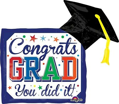 BALLOON CONGRATS GRAD YOU DID IT Graduation Party Decorations Diploma Hat Mylar