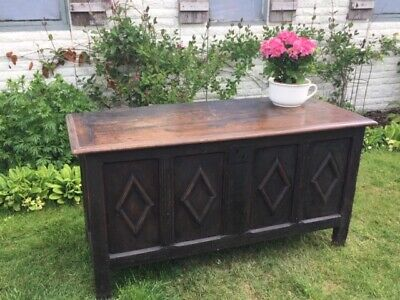 Beautifully Carved Antique 17 Century Carved Oak Coffer - Fully Zinc Lined